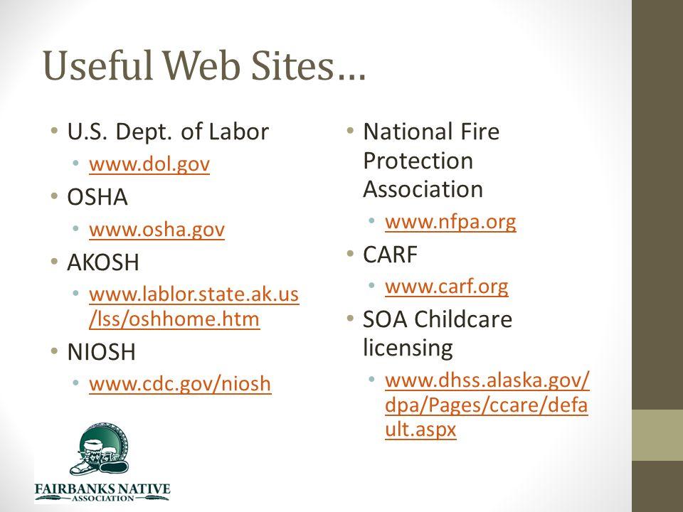 Useful Web Sites… U.S. Dept.