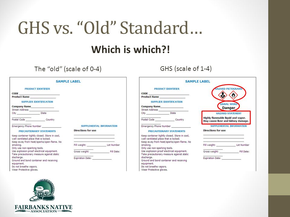 GHS vs. Old Standard… Which is which ! The old (scale of 0-4) GHS (scale of 1-4)