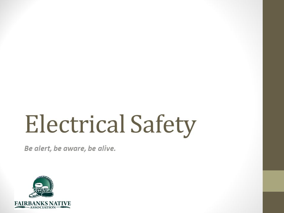 Electrical Safety Be alert, be aware, be alive.