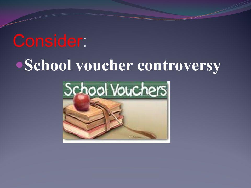 Consider: School voucher controversy