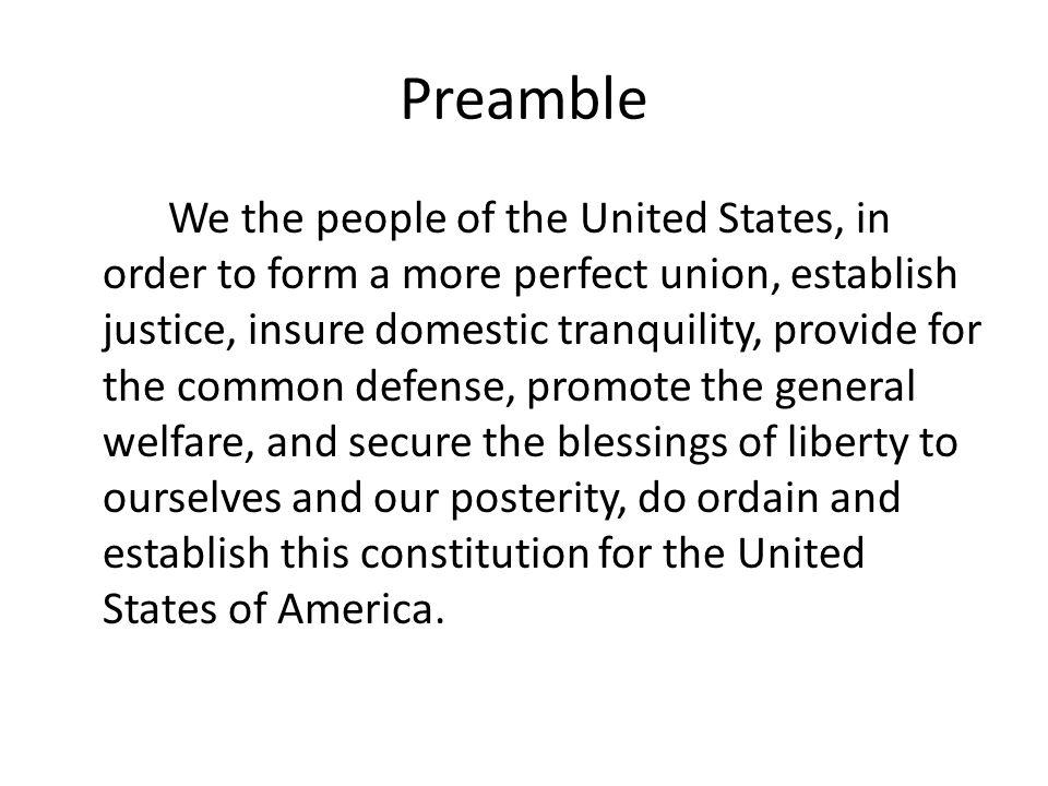 The U.S Constitution Susana Ortega Per4. Preamble We the people of ...