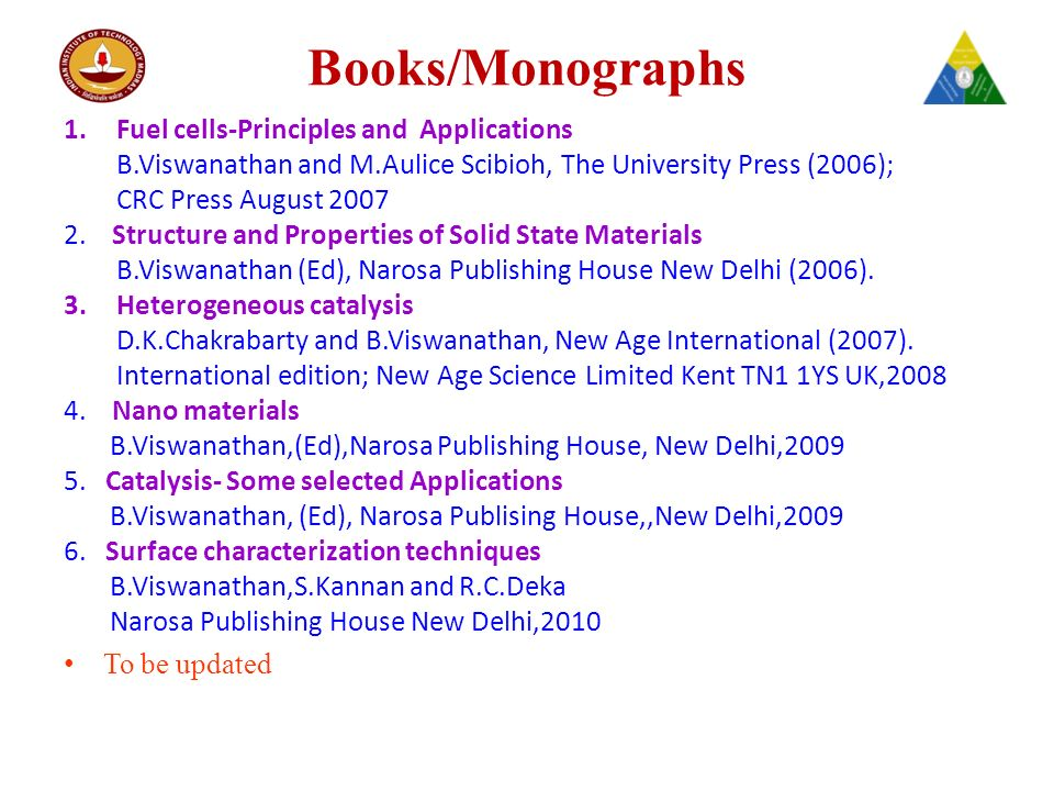 Books/Monographs 1.Fuel cells-Principles and Applications B.Viswanathan and M.Aulice Scibioh, The University Press (2006); CRC Press August 2007 2.