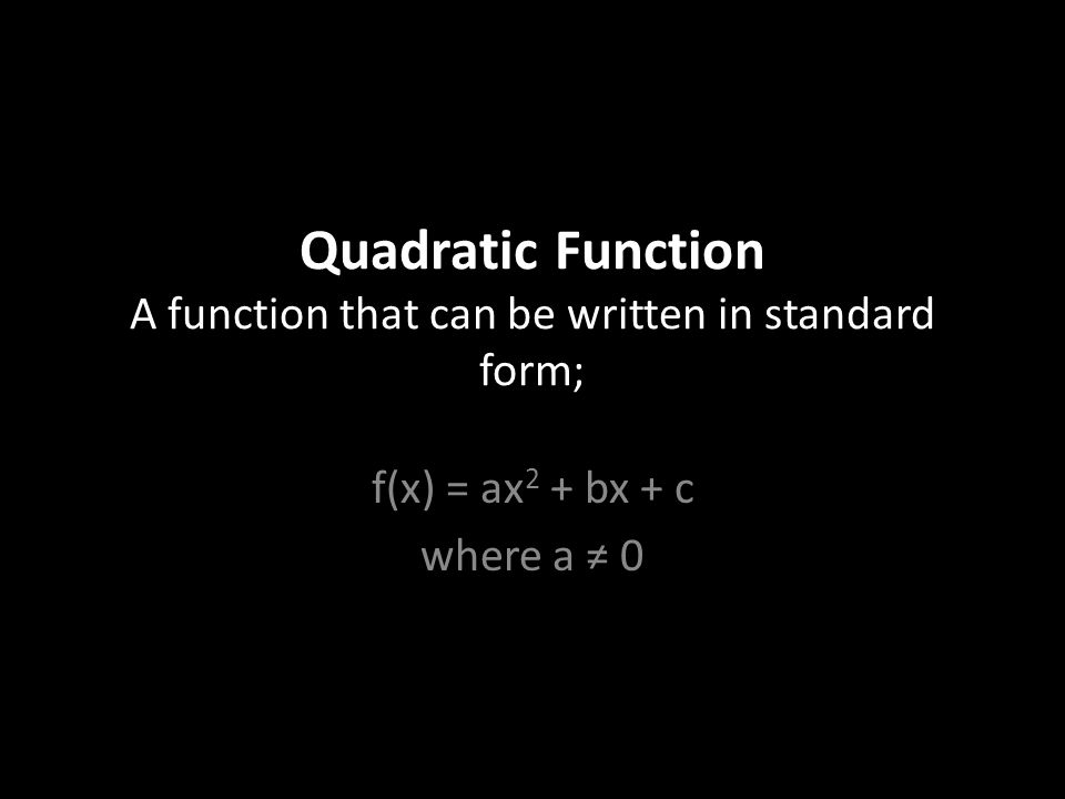 Quadratic Function A Function That Can Be Written In Standard Form