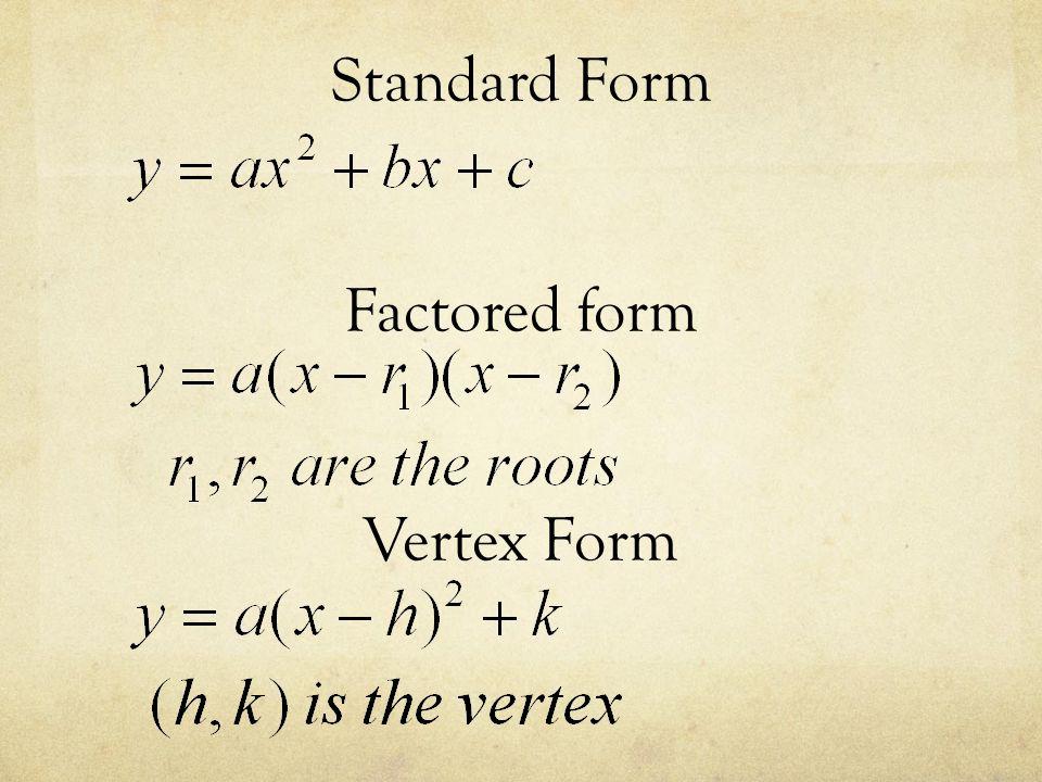 Quadratic Functions. Standard Form Factored form Vertex Form ...