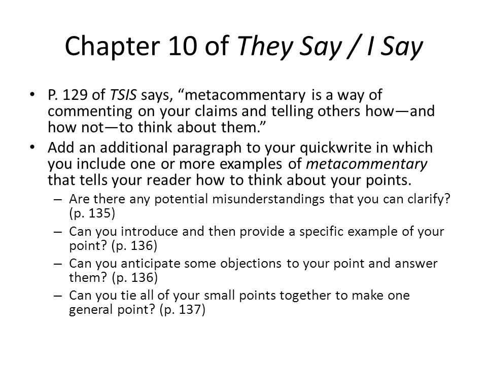introduction of they say i say They say / i say: introduction -gerald graff: professor of english and education university of illinois at chicago president, modern language association (2008.