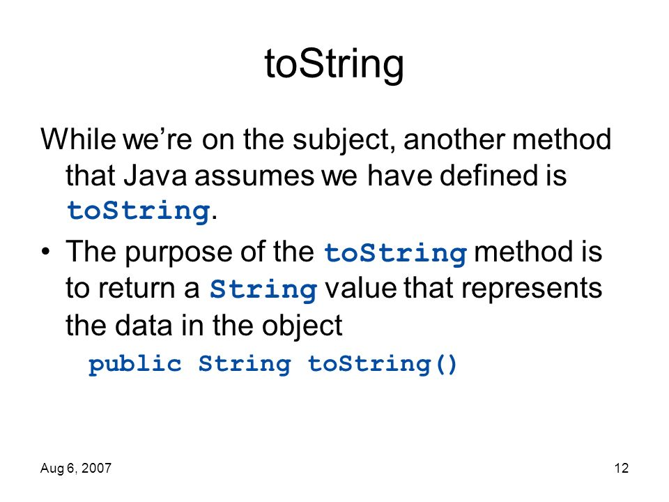 tostring in java