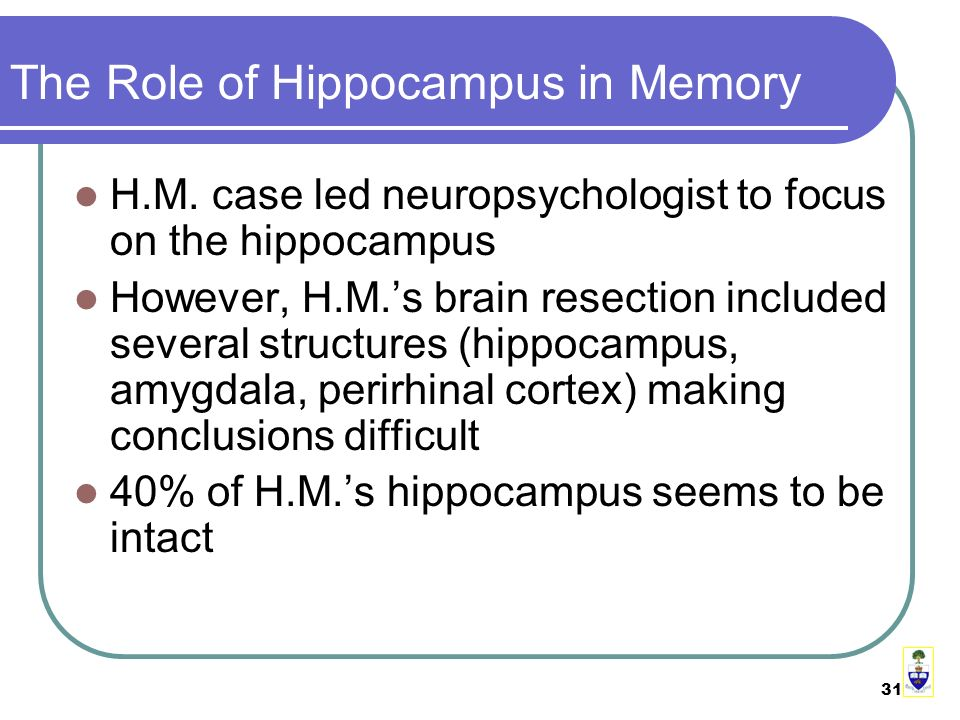 31 The Role of Hippocampus in Memory H.M.