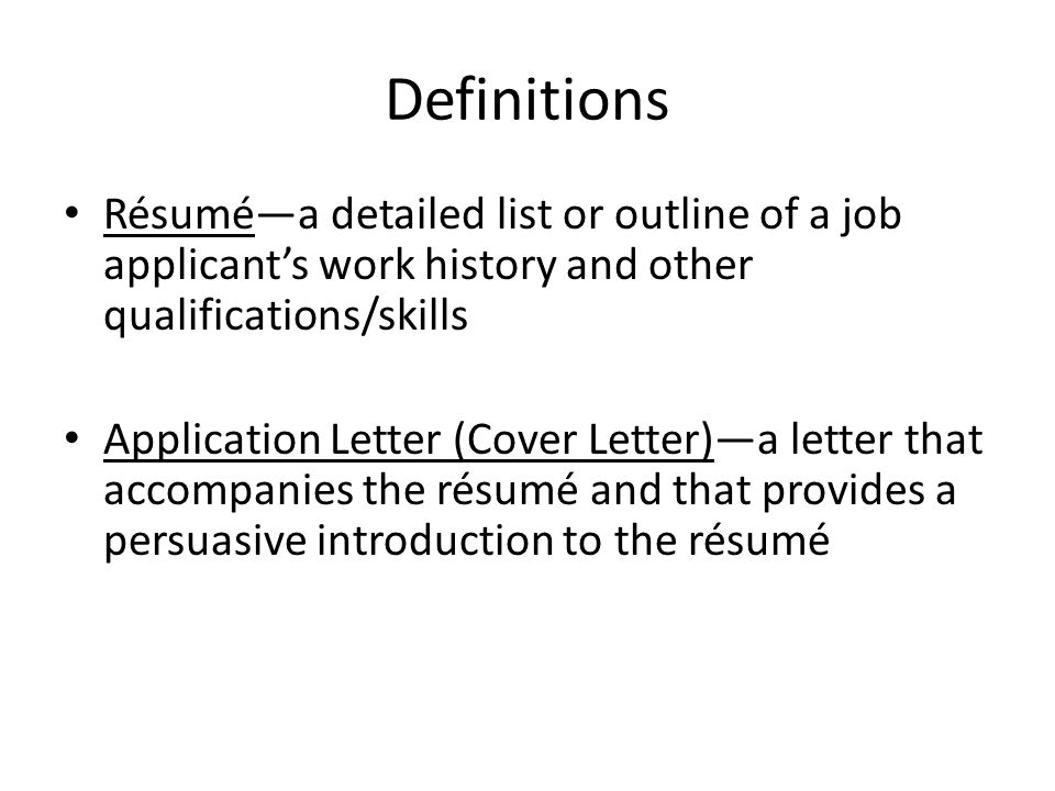 Definitions Résumé—A Detailed List Or Outline Of A Job Applicant'S