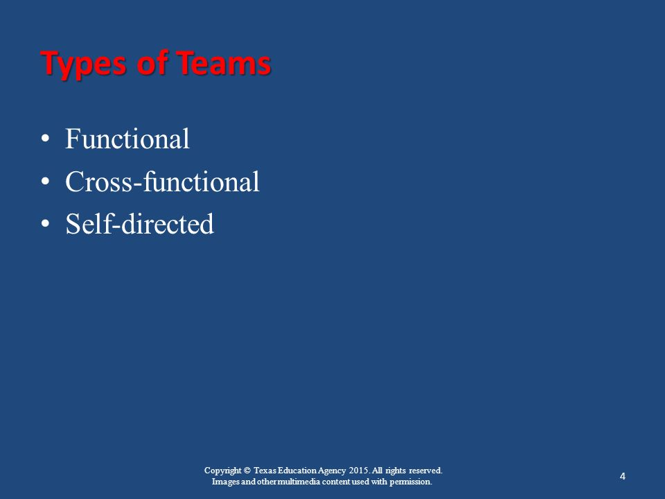 Copyright © Texas Education Agency 2015. All rights reserved. Images and other multimedia content used with permission. Types of Teams Functional Cros