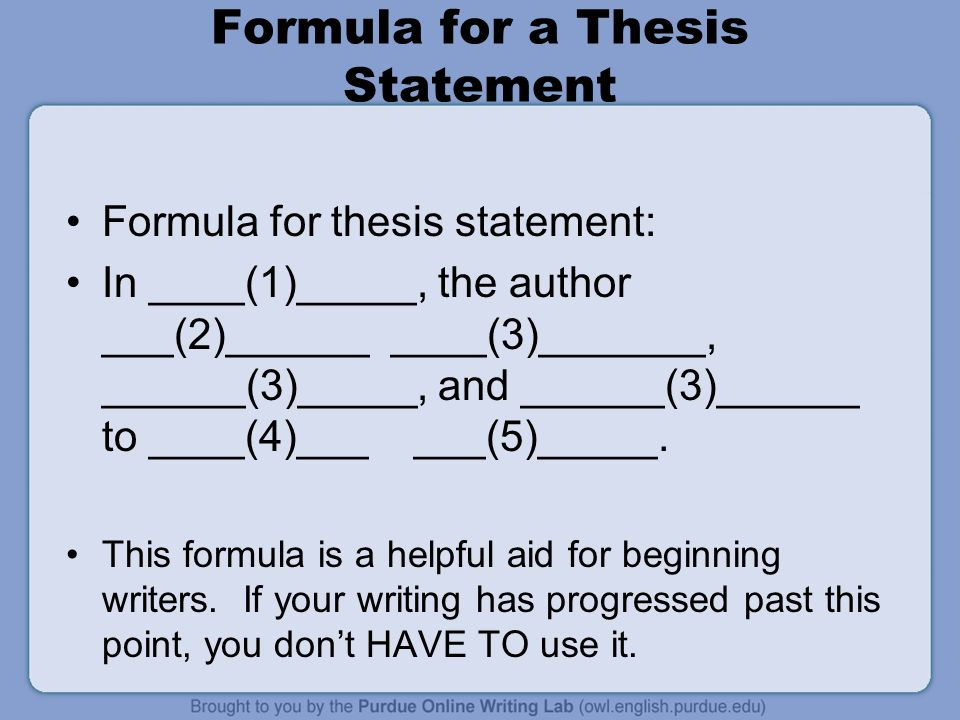 formula for creating a good thesis statement