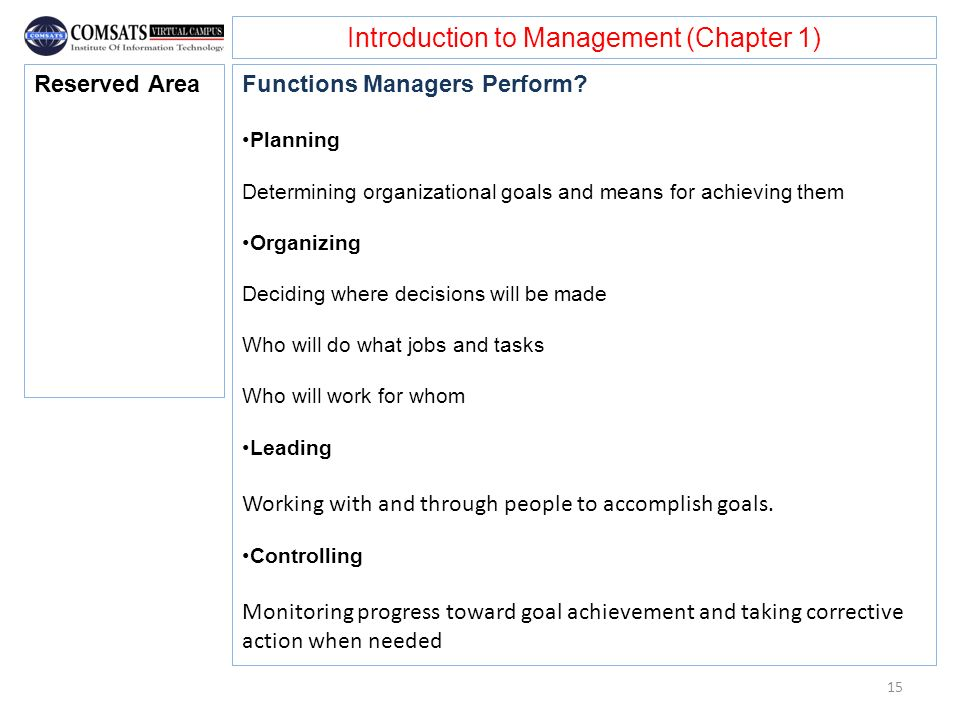 Introduction to Management (Chapter 1) Functions Managers Perform? Planning Determining organizational goals and means for achieving them Organizing D