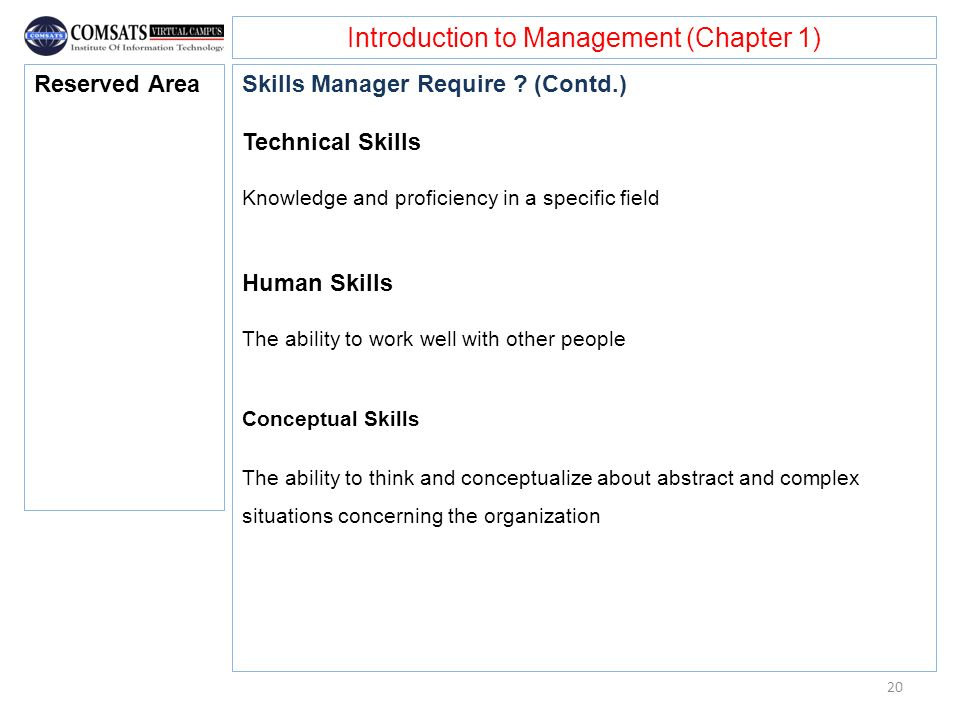 Introduction to Management (Chapter 1) Skills Manager Require ? (Contd.) Technical Skills Knowledge and proficiency in a specific field Human Skills T