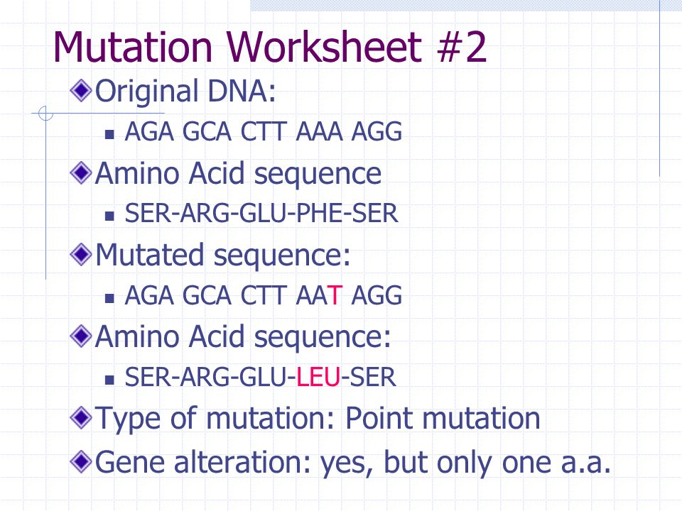 Definitions Mutation – any change in the genetic sequence. Gene ...