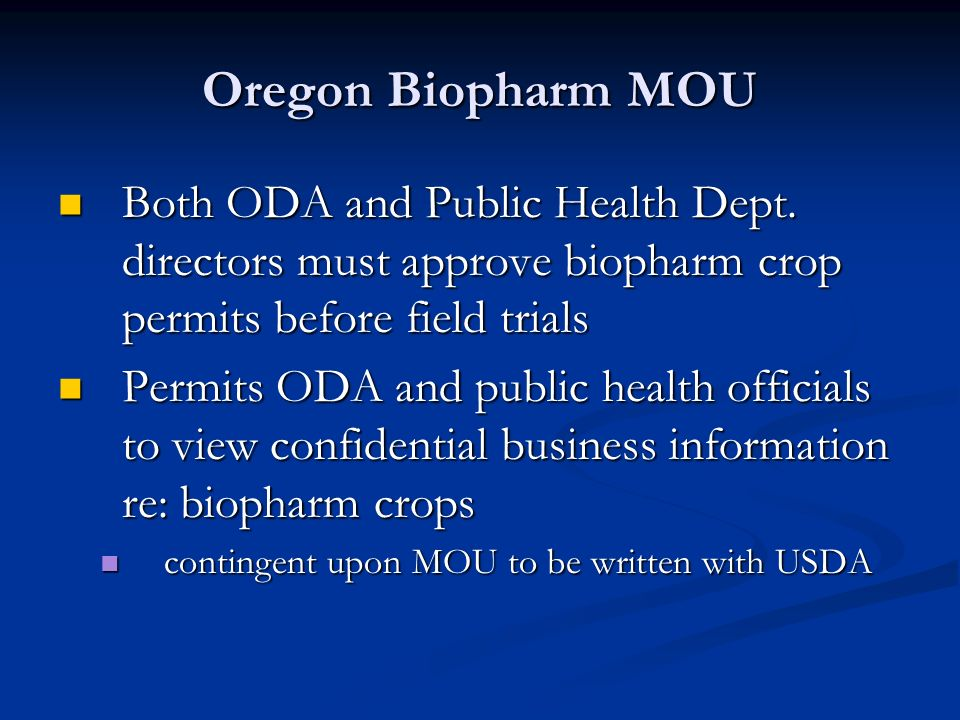 Oregon Biopharm MOU Both ODA and Public Health Dept.