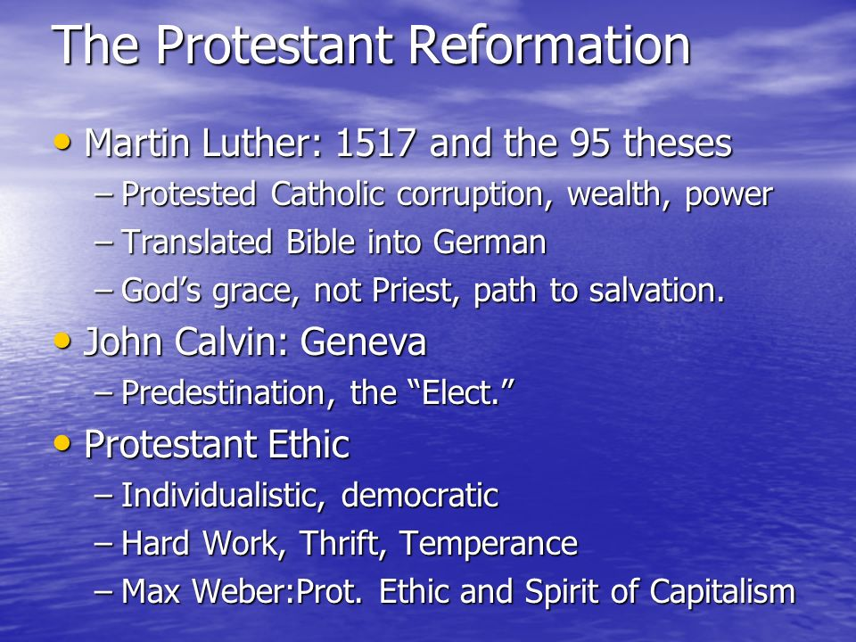 the protestant reformation and its influence in shaping the future Fathers of the protestant reformation shape, or form  they lay claim not merely to the battlefield, but to the future 9.
