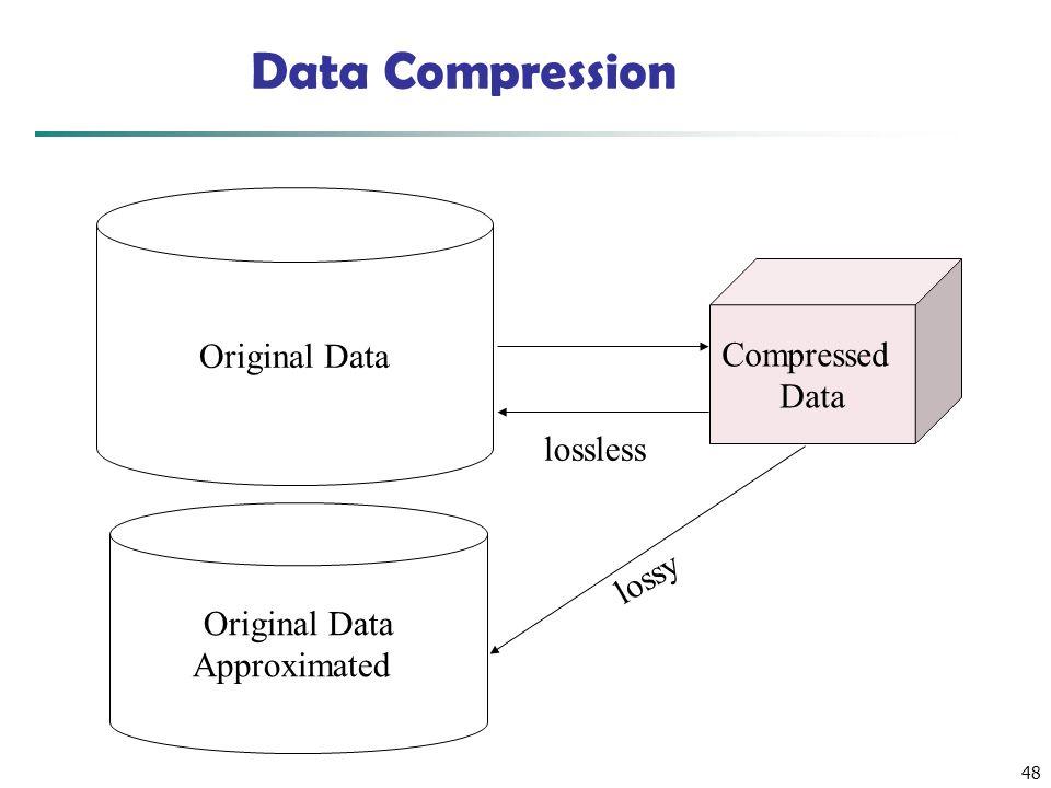 48 Data Compression Original Data Compressed Data lossless Original Data Approximated lossy