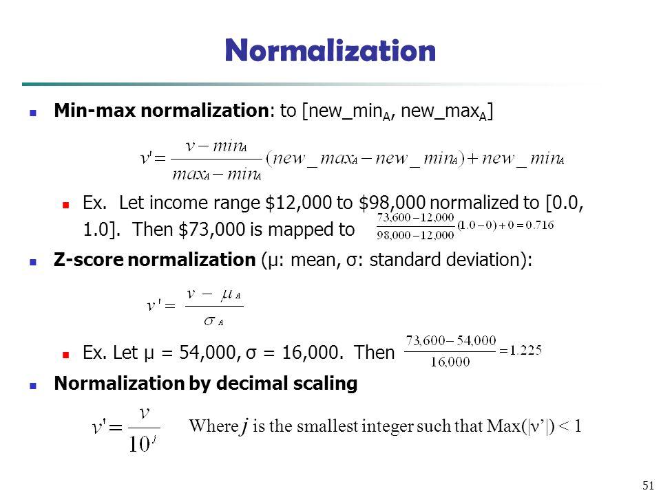 51 Normalization Min-max normalization: to [new_min A, new_max A ] Ex.