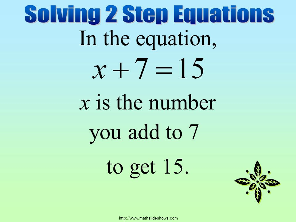 In the equation, x is the number to get 15. you add to 7