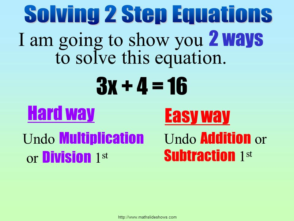 I am going to show you 2 ways to solve this equation.