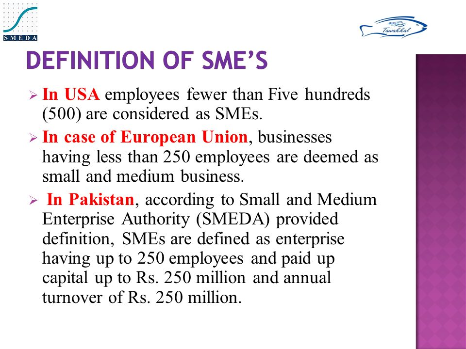  In USA employees fewer than Five hundreds (500) are considered as SMEs.