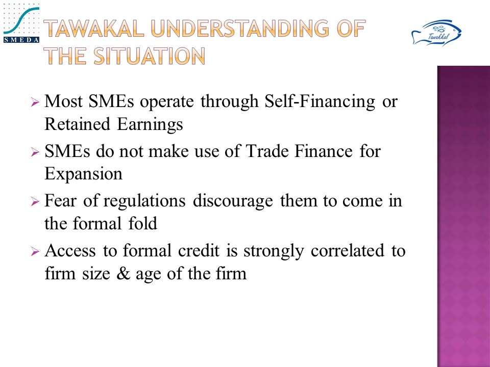  Most SMEs operate through Self-Financing or Retained Earnings  SMEs do not make use of Trade Finance for Expansion  Fear of regulations discourage them to come in the formal fold  Access to formal credit is strongly correlated to firm size & age of the firm