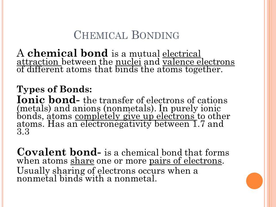 C H 6 C HEMICAL B ONDING Chemistry. C HEMICAL B ONDING A chemical ...