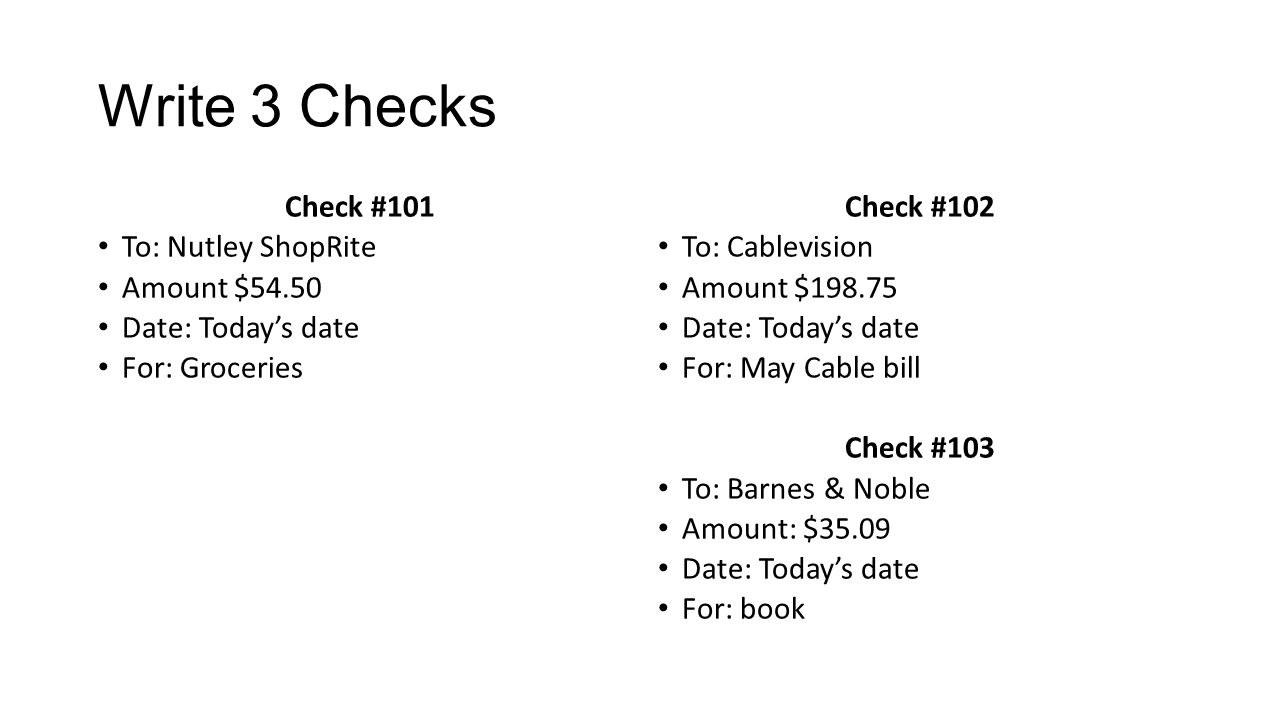 Write out the 3 checks as follows use the check details slide as a 2 write ccuart Choice Image
