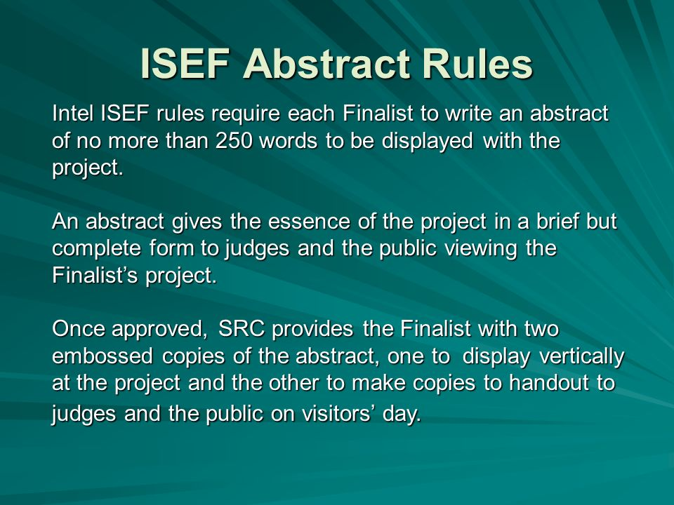 intel-isef research paper format A project data book and research paper are not required even with an increased sample category of their research at the intel isef 2.