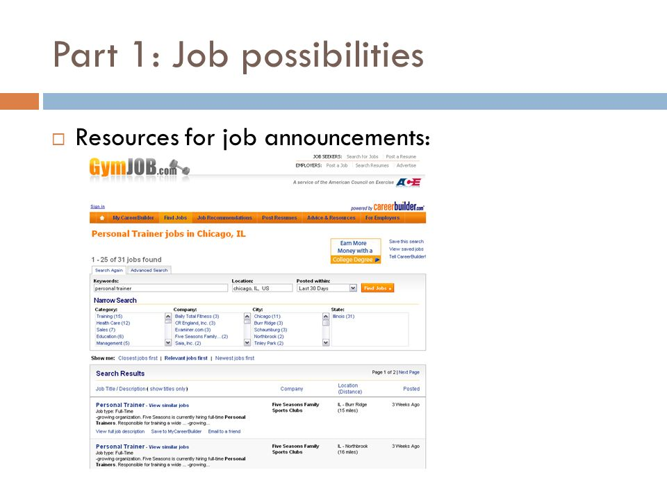 JOB SEARCH ACTIVITY Worth some portion of 20% for homework/class ...