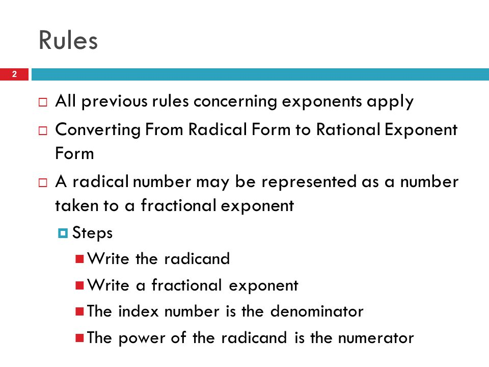Rational Exponents Rules Examples Practice Problems. - ppt download