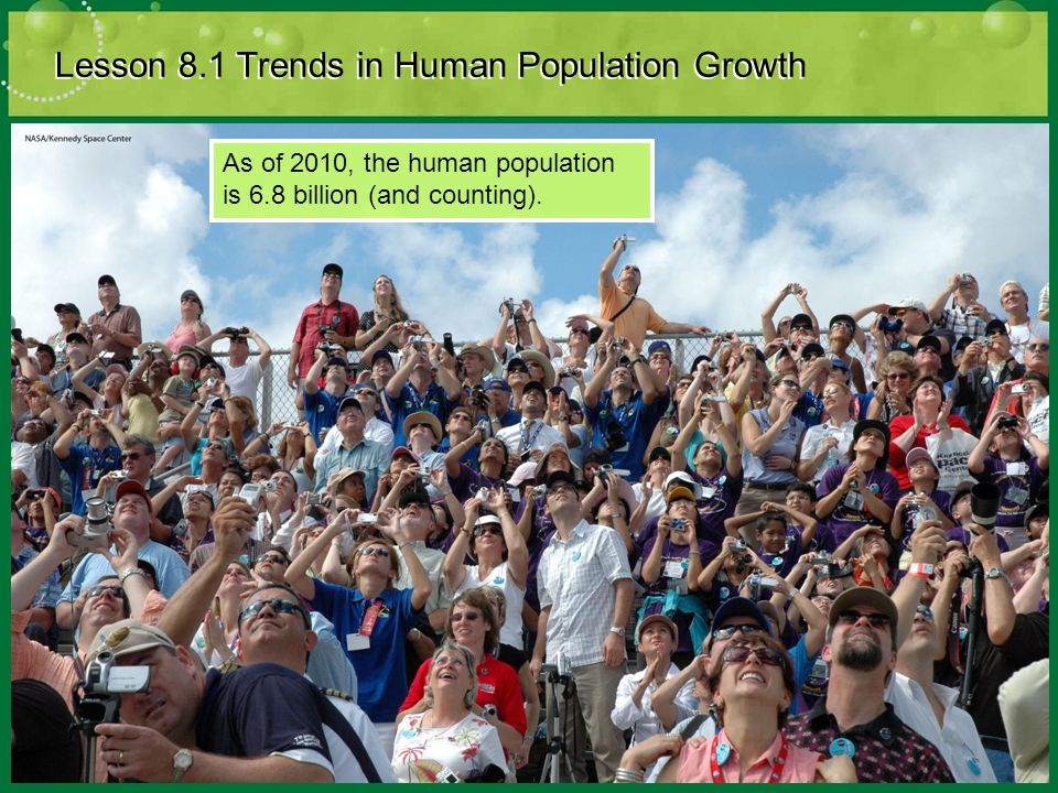 Lesson 8.1 Trends in Human Population Growth As of 2010, the human population is 6.8 billion (and counting).