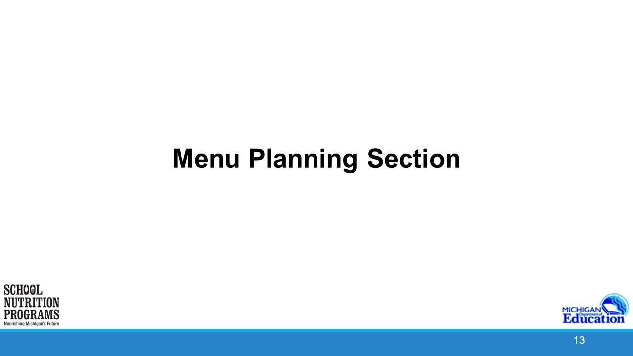 13 13 Menu Planning Section