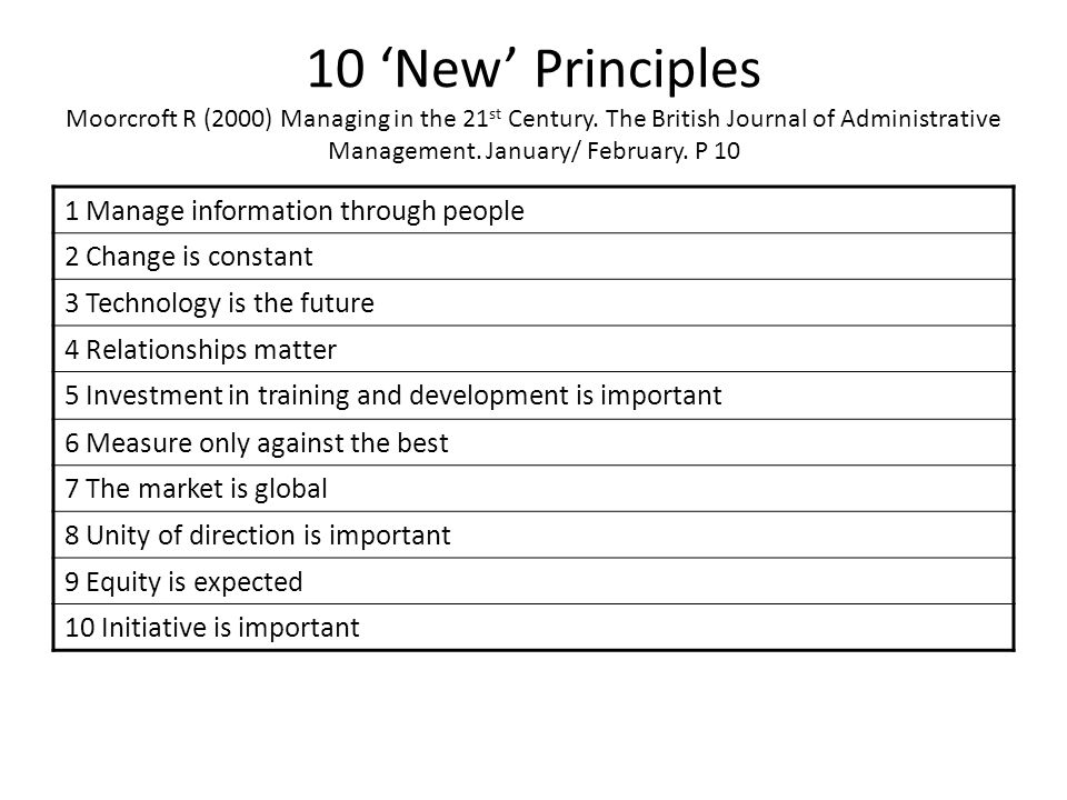 10 'New' Principles Moorcroft R (2000) Managing in the 21 st Century. The British Journal of Administrative Management. January/ February. P 10 1 Mana