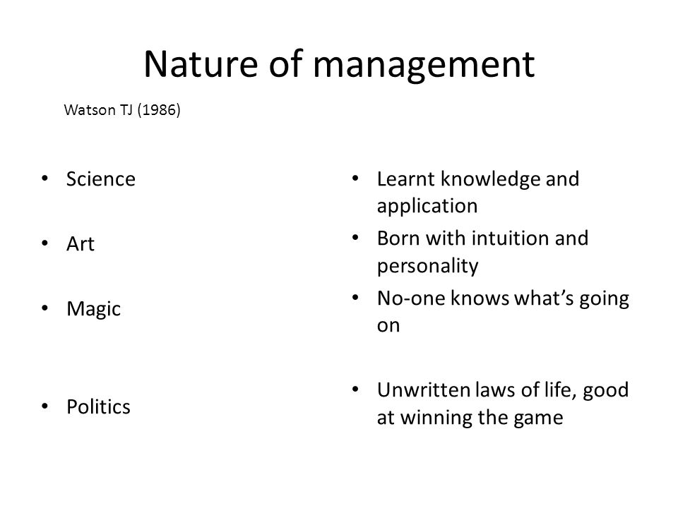 Nature of management Science Art Magic Politics Learnt knowledge and application Born with intuition and personality No-one knows what's going on Unwr