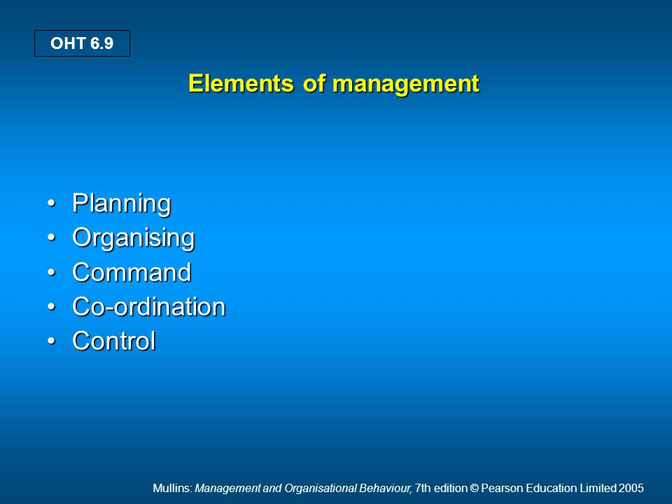 Mullins: Management and Organisational Behaviour, 7th edition © Pearson Education Limited 2005 OHT 6.9 Elements of management PlanningPlanning Organis