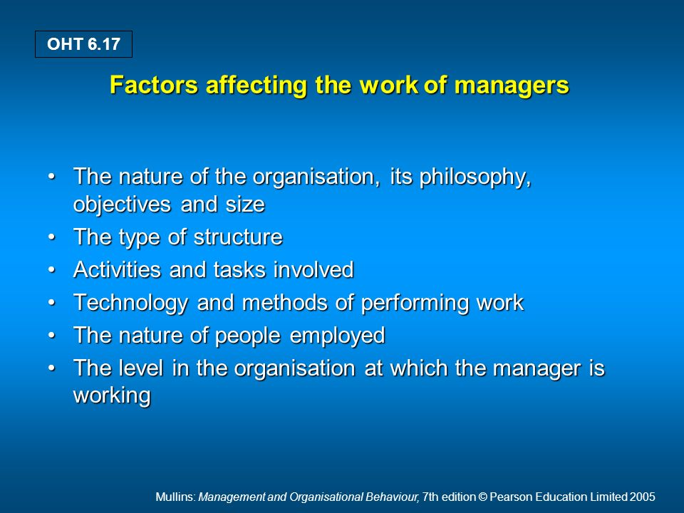 Mullins: Management and Organisational Behaviour, 7th edition © Pearson Education Limited 2005 OHT 6.17 Factors affecting the work of managers The nature of the organisation, its philosophy, objectives and sizeThe nature of the organisation, its philosophy, objectives and size The type of structureThe type of structure Activities and tasks involvedActivities and tasks involved Technology and methods of performing workTechnology and methods of performing work The nature of people employedThe nature of people employed The level in the organisation at which the manager is workingThe level in the organisation at which the manager is working