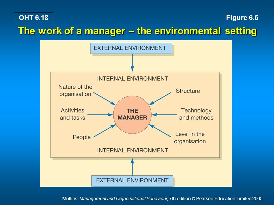 Mullins: Management and Organisational Behaviour, 7th edition © Pearson Education Limited 2005 OHT 6.18 The work of a manager – the environmental setting Figure 6.5