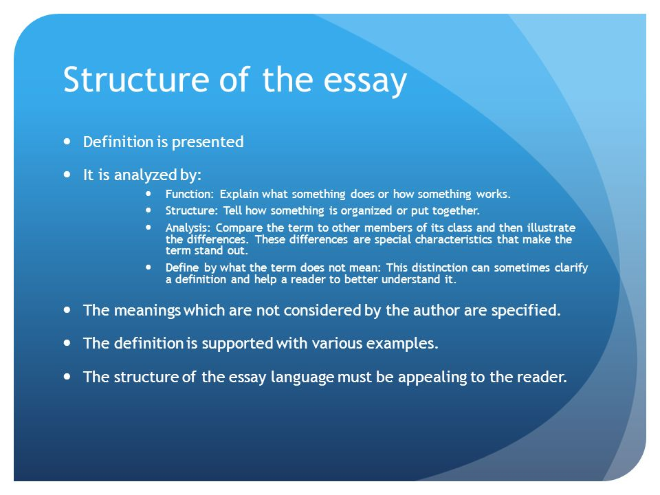 define the term essay writing A definition essay is a special type of assignment that simply explains the meaning of a certain term while some terms have specific and concrete definitions.