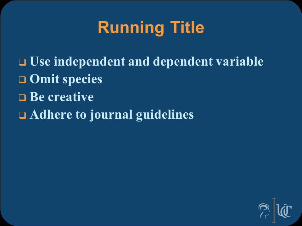 short running title research paper Your paper your way we now please check the relevant section in this guide for authors for the title page should include a short running title.