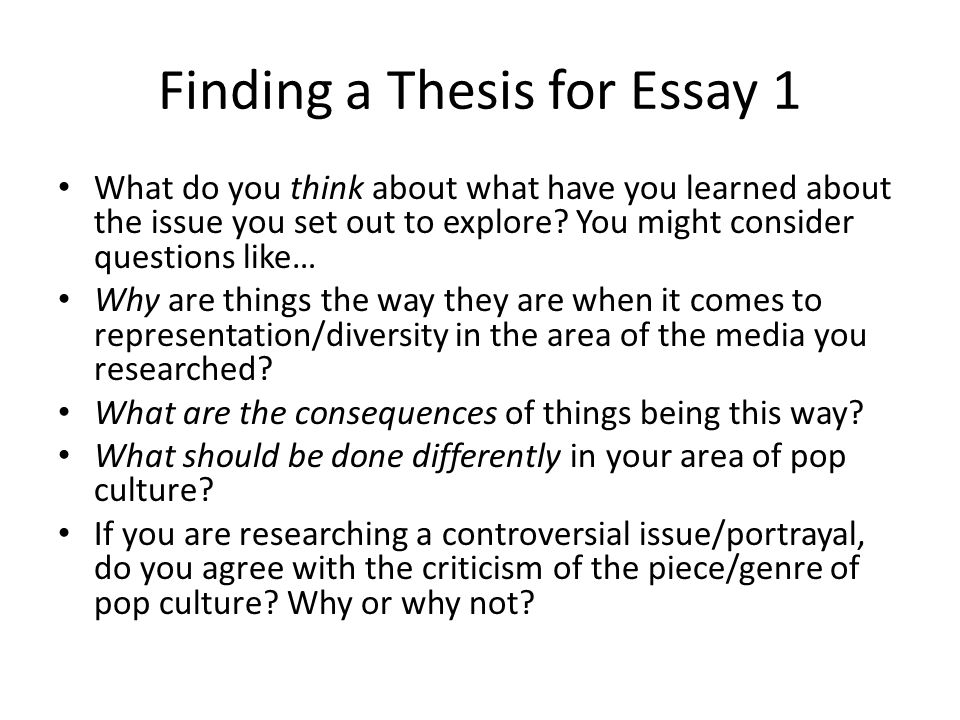 fiding a thesis