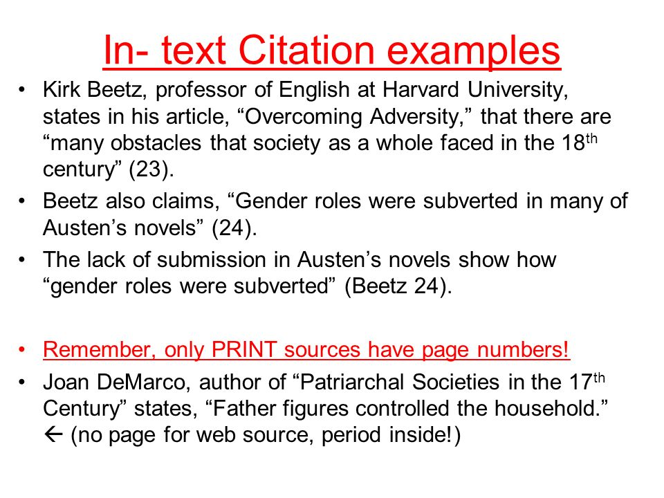 Out of text citation