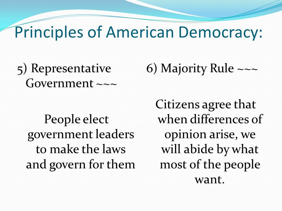 Principles of American Democracy: 5) Representative Government ~~~ People elect government leaders to make the laws and govern for them 6) Majority Ru