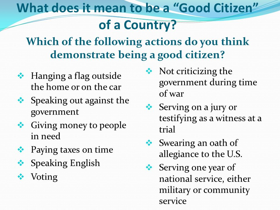 "What does it mean to be a ""Good Citizen"" of a Country? Which of the following actions do you think demonstrate being a good citizen?  Hanging a flag"