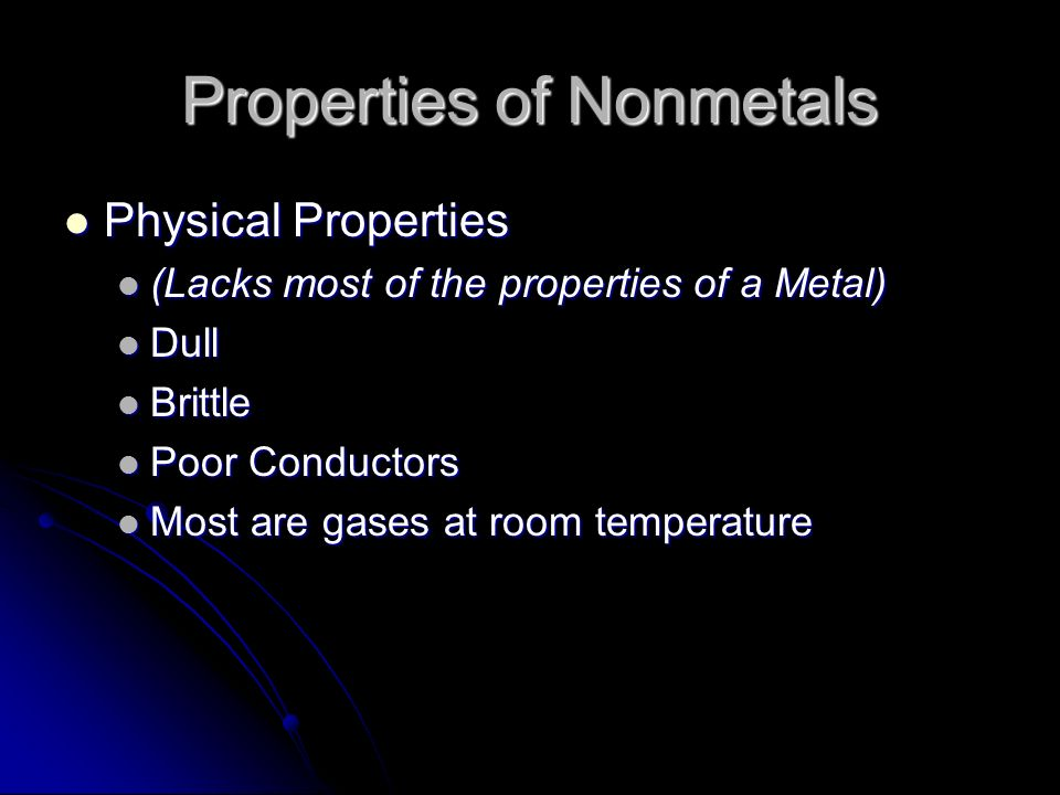 Properties of Nonmetals Physical Properties Physical Properties (Lacks most of the properties of a Metal) (Lacks most of the properties of a Metal) Dull Dull Brittle Brittle Poor Conductors Poor Conductors Most are gases at room temperature Most are gases at room temperature