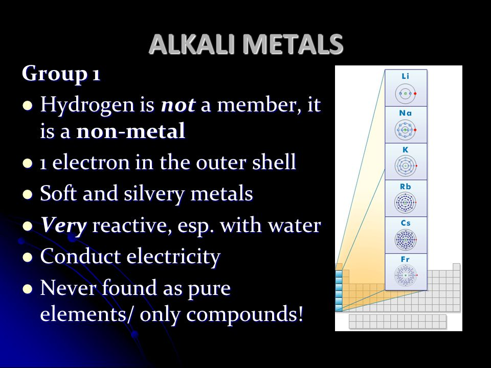 ALKALI METALS Group 1 Hydrogen is not a member, it is a non-metal Hydrogen is not a member, it is a non-metal 1 electron in the outer shell 1 electron in the outer shell Soft and silvery metals Soft and silvery metals Very reactive, esp.
