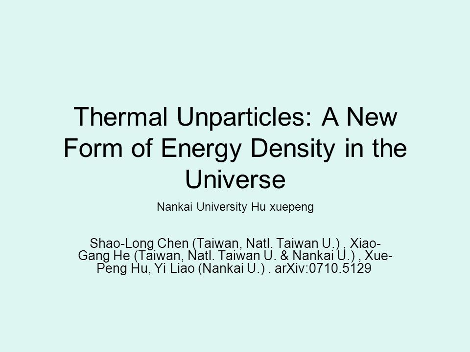 Thermal Unparticles: A New Form of Energy Density in the Universe ...