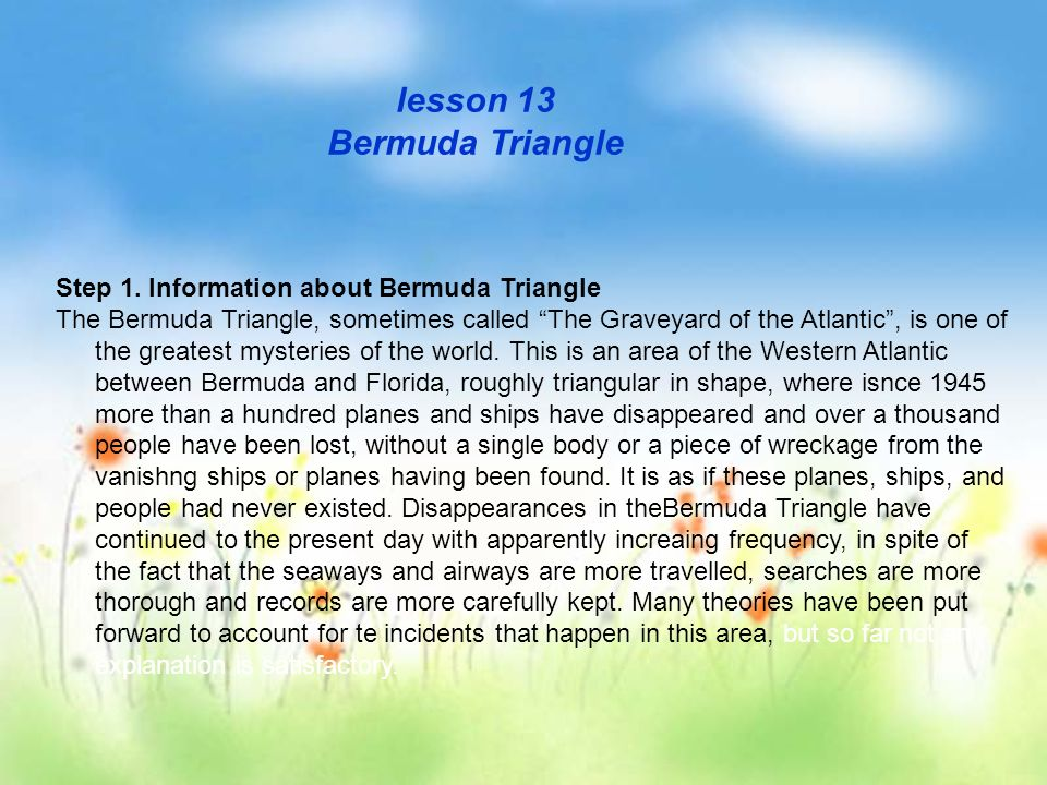 bermuda triangle essay outline View notes - essay outline pdf from history 102 at molloy jacqueline evers enc 1101 professor szczesny the bermuda triangle outline essay  i history and theories about the origins of the bermuda.