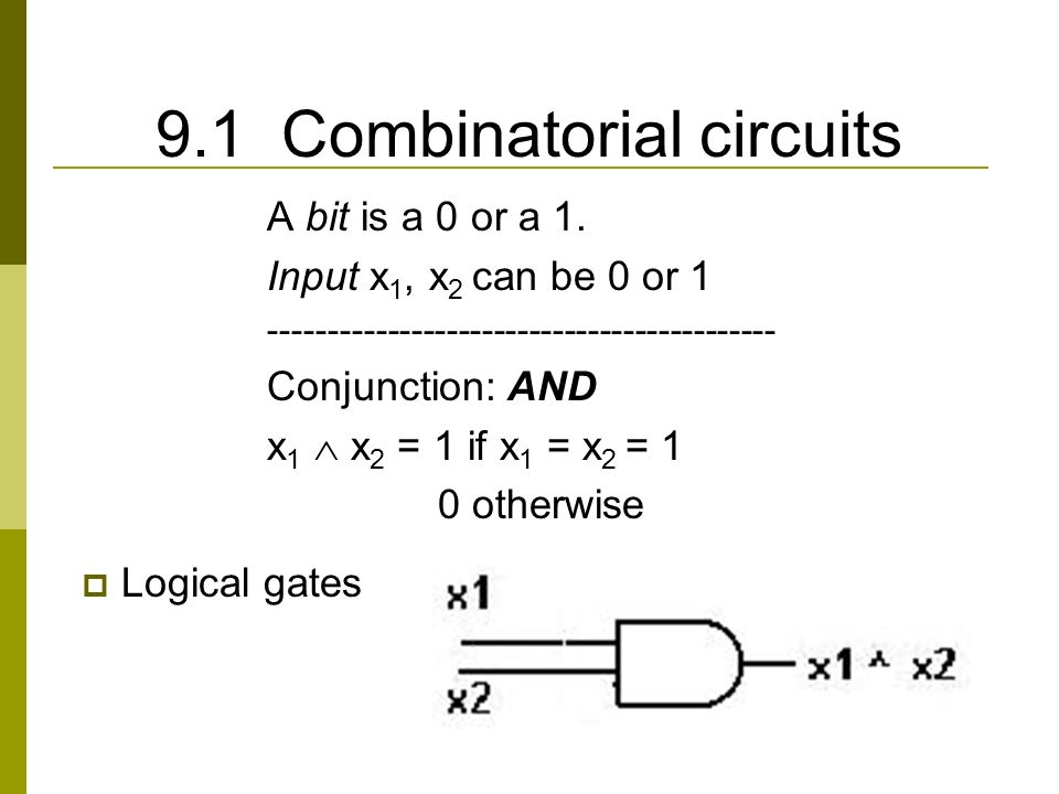 9.1 Combinatorial circuits A bit is a 0 or a 1.