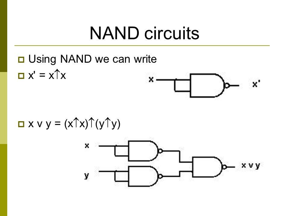 NAND circuits  Using NAND we can write  x = x  x  x v y = (x  x)  (y  y)
