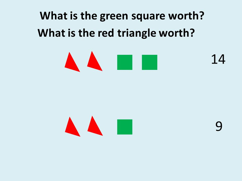 14 9 What is the green square worth What is the red triangle worth